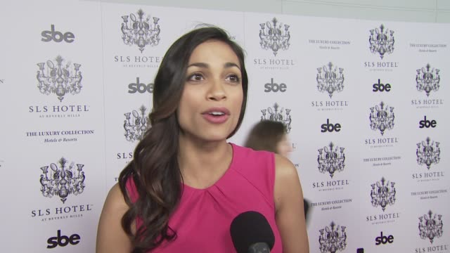 rosario dawson on what she's wearing on coming out tonight on what she expects from the sls hotel and on her well wishes to the sls hotel at the... - rosario dawson stock videos and b-roll footage