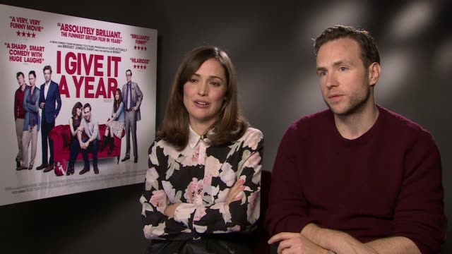interview rose byrne and rafe spall on it being a romcom that appeals to men and guilty pleasures at the i give it a year interview in londo 28th... - rose byrne stock videos and b-roll footage