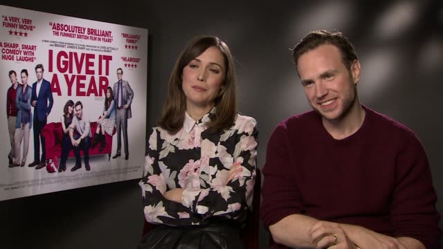 interview rose byrne and rafe spall on wedding stereotypes underwear shopping and superstition at the i give it a year interview in londo 28th... - rose byrne stock videos and b-roll footage