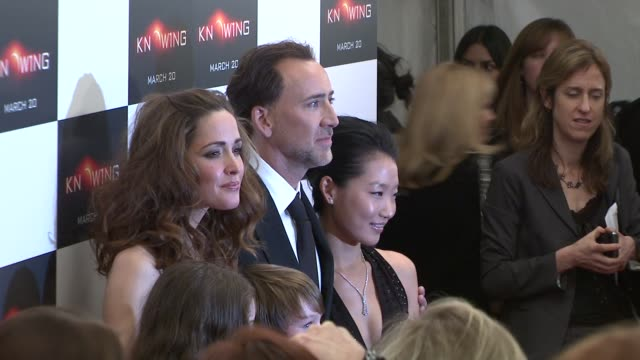 rose byrne nicolas cage and alice kim cage at the special new york screening of knowing at new york ny - rose byrne stock videos and b-roll footage