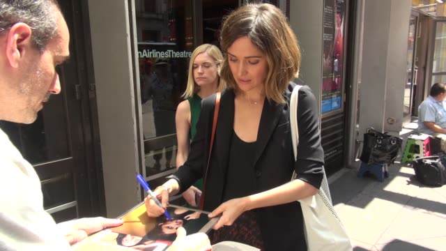 rose byrne signs for a fan before walking into new 42nd street studios for rehearsals of the broadway revival of you can't take it with you in... - rose byrne stock videos and b-roll footage