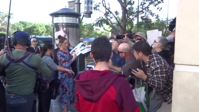 Rose Byrne with fans at the premiere of 'Peter Rabbit' at The Grove in Los Angeles at Celebrity Sightings in Los Angeles on February 03 2018 in Los...