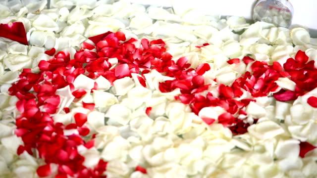 vídeos y material grabado en eventos de stock de pétalos de rosa en bañera de romántico traje de luna de miel. - toalla
