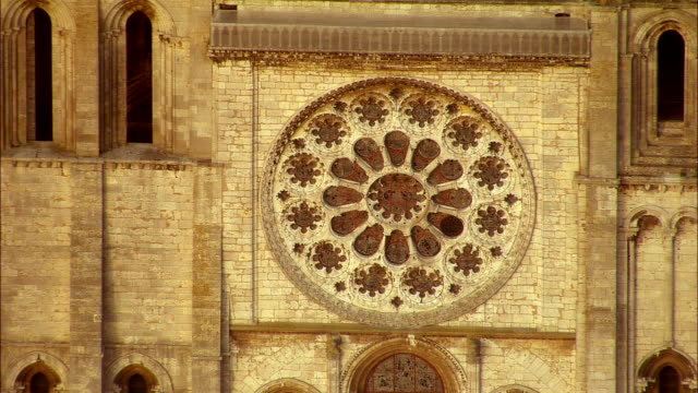 ha cu rose window of chartres cathedral / chartres, centre, france - rose window stock videos and b-roll footage