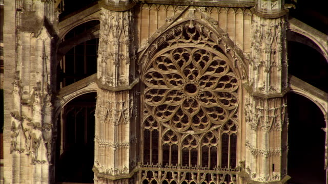 AERIAL MS rose window on Beauvais Cathedral/ Beauvais, France