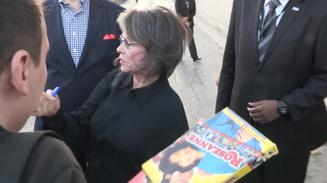 roseanne barr greets fans at the jimmy kimmel studio in hollywood in celebrity sightings in los angeles - roseanne barr stock videos & royalty-free footage