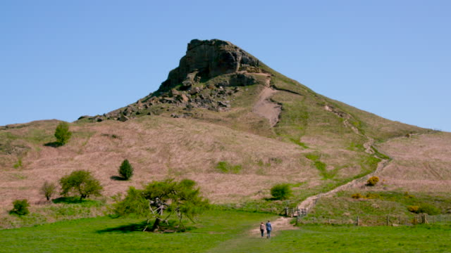 roseberry topping & bluebells - footpath stock videos & royalty-free footage