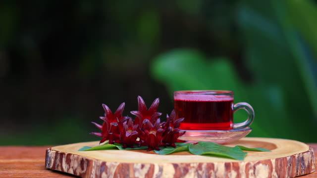 roselle oder hibiskussaft mit frischem roselle. - drink stock-videos und b-roll-filmmaterial