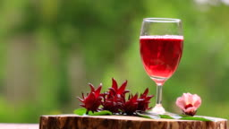 Roselle or hibiscus juice with fresh roselle.