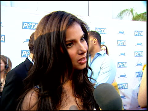 roselyn sanchez on how it is bad to cause pain to animals at the peta's 25th anniversary gala and humanitarian awards show at paramount studios in... - paramount studios stock videos and b-roll footage