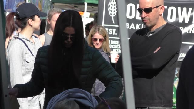 """roselyn sanchez shops at a farmers market in studio city at the """"i still believe"""" premiere at arclight cinemas in hollywood at celebrity sightings in... - arclight cinemas hollywood stock videos & royalty-free footage"""