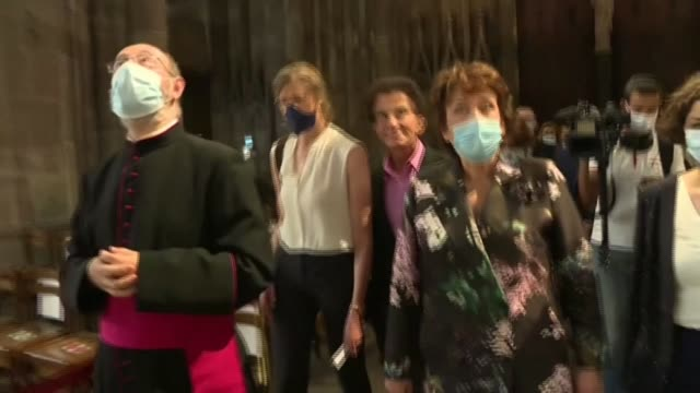 roselyne bachelot visits strasbourg cathedral accompanied by former french minister jack lang on the occasion of her first trip to the region as... - former stock videos & royalty-free footage