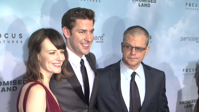rosemarie dewitt john krasinski and matt damon at promised land new york premiere presented by focus features at amc loews lincoln square 13 theater... - john krasinski stock videos and b-roll footage