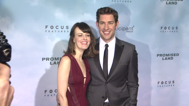 rosemarie dewitt john krasinski at promised land new york premiere presented by focus features at amc loews lincoln square 13 theater on december 04... - john krasinski stock videos and b-roll footage