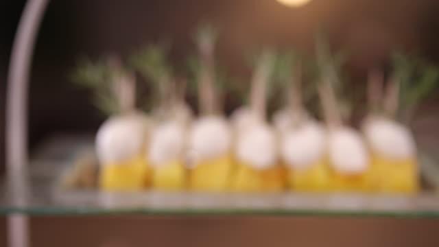 rosemary pineapple mozzarella bites - mozzarella stock videos & royalty-free footage