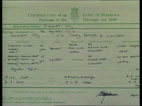 Day 31 Verdicts CMS Fred and Rosemary West's wedding certificate CS Detail of same showing Fred as 'Bachelor'