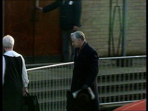 rosemary west sent to trial; england: gloucestershire: dursley magistrates court: ext prison van departing court, woman yells at police van peter... - crime or recreational drug or prison or legal trial stock-videos und b-roll-filmmaterial