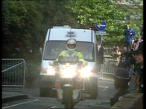 day 1:; b)c4n england: hampshire: winchester: ext airv winchester prison line of police cars and vans along towards and past as arrives at court for... - crime or recreational drug or prison or legal trial stock-videos und b-roll-filmmaterial