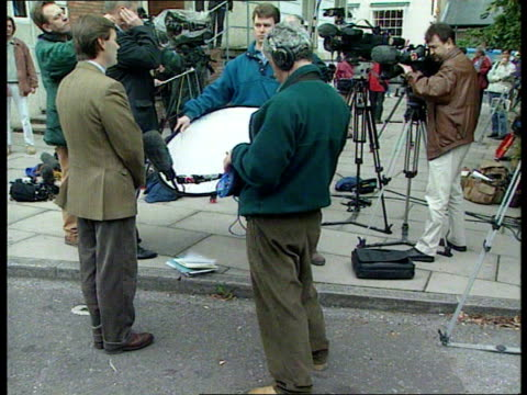 day 1:; england: hampshire: winchester: french tv reporter doing i/c outside court ditto ditto cms valerie nataf intvwd sot -there is a lot of... - crime or recreational drug or prison or legal trial stock-videos und b-roll-filmmaterial