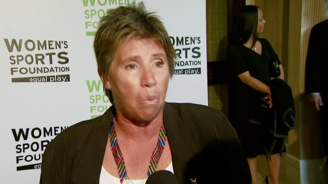 rosie casals on being the commentator for the billie jean king vs bobby riggs match, and how sports empower women at the the billies at the beverly... - ビリー・ジーン・キング点の映像素材/bロール