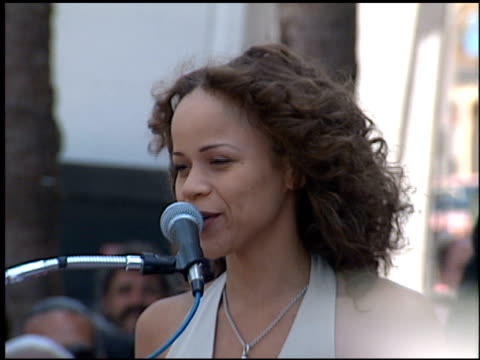 rosie perez at the dediction of rita moreno's walk of fame star at the hollywood walk of fame in hollywood, california on july 20, 1995. - rosie perez stock videos & royalty-free footage