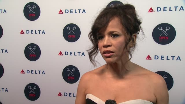rosie perez says she's a big fan of serena's, shares her travel tips, at 2nd annual delta open mic with serena williams at arena event space on... - rosie perez stock videos & royalty-free footage