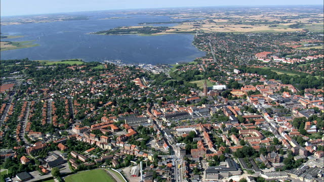 roskilde  - aerial view - zealand, roskilde kommune, denmark - denmark stock videos & royalty-free footage