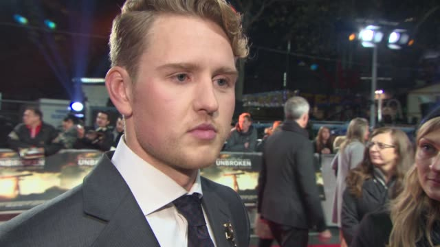 INTERVIEW Ross Anderson on being at the premiere working with Angelina Jolie what it was like on set at 'Unbroken' UK Film Premiere at Odeon...