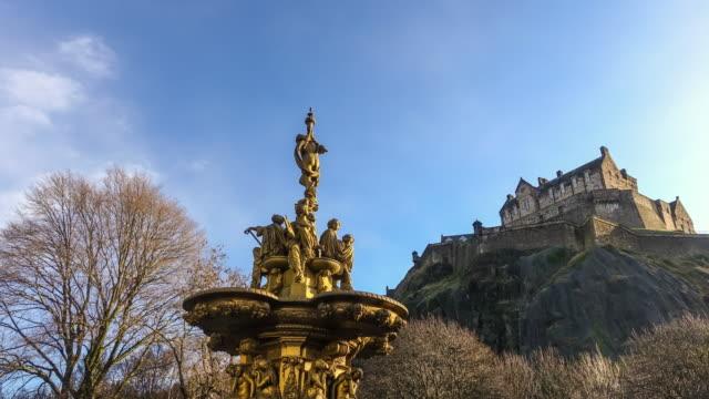ross fountain landmark in pinces street gardens. edinburgh, - prince stock videos and b-roll footage