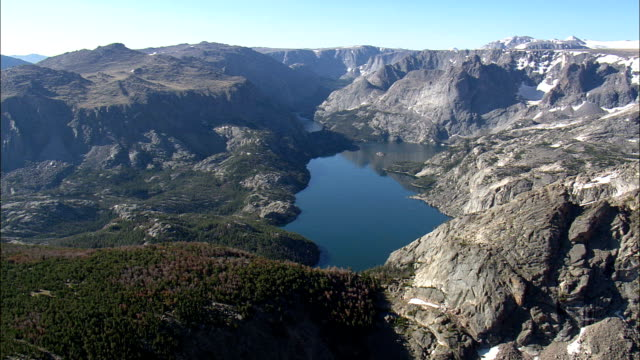 Ross Lake  - Aerial View - Wyoming,  Fremont County,  helicopter filming,  aerial video,  cineflex,  establishing shot,  United States