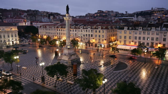 t/l ws ha rossio square, day to night, lisbon, portugal - lisbon stock videos and b-roll footage