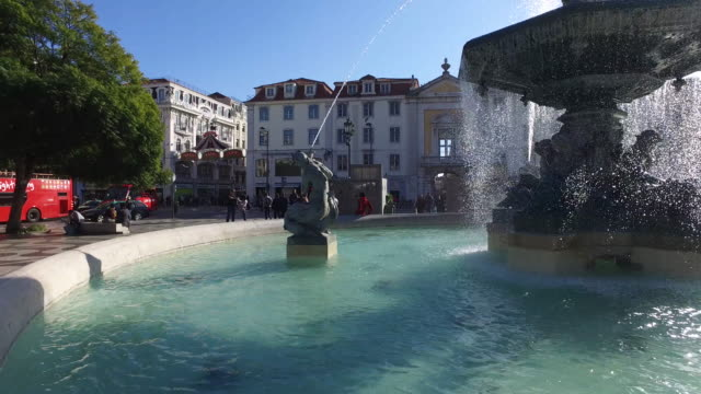 rossio square in lisbon - lisbon stock videos and b-roll footage