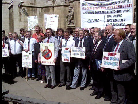 Rosyth Naval base ENGLAND London Westminster 2 weeks ago possibly 4791 SEQ Rosyth workers standing with placards outside Houses of Parliament/ 'keep...