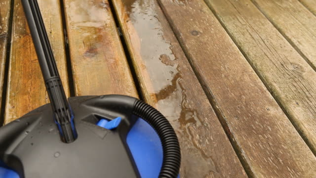 rotary pressure washer brush attachment cleaning deck boards - weathered stock videos & royalty-free footage