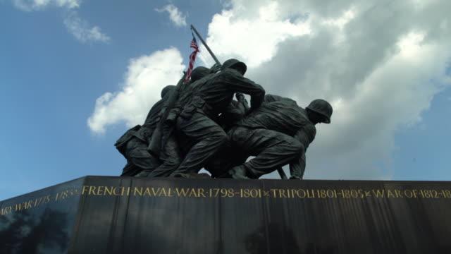 rotate around us marine corps war memorial - statue stock videos & royalty-free footage