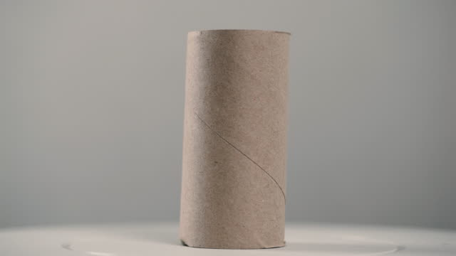 rotate the short tissue axis. it is a two-sided brown core of toilet paper. - tubo video stock e b–roll