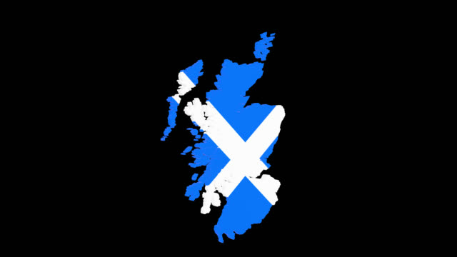 Rotating 3D map of Scotland with saltire and alpha channel