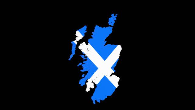 Rotierende 3D Karte von Schottland mit Andreaskreuz und Alpha-Kanal