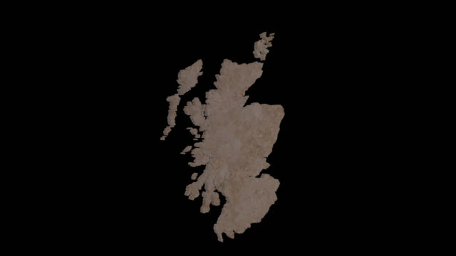 Rotating 3D map of Scotland with texture finish and alpha channel