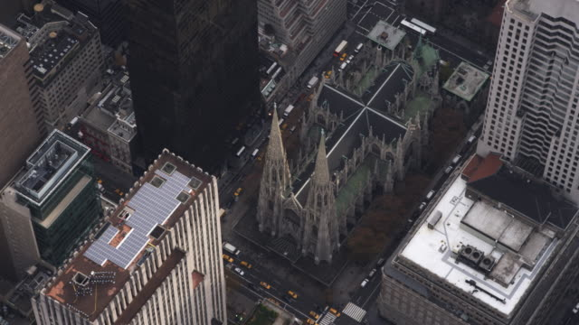 rotating above st. patrick's cathedral, new york city. shot in 2011. - cathedral stock videos & royalty-free footage
