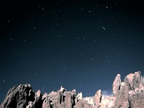 Rotating and shooting stars to dawn over jagged mountain timelapse