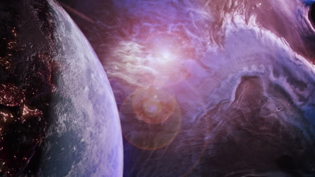 rotierende blaue erde in einem futuristischen lila universum - astronomie stock-videos und b-roll-filmmaterial