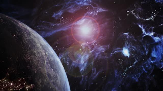 rotierende blaue erde in einem futuristischen universum - astronomie stock-videos und b-roll-filmmaterial