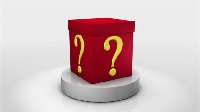 cgi rotating box with question mark - punto interrogativo video stock e b–roll