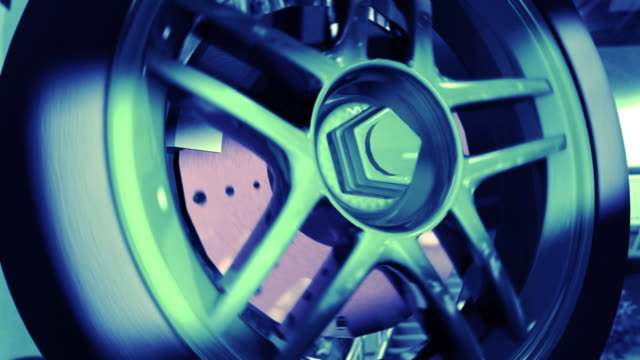 (hd 720) loop rotating car wheel - calliper stock videos & royalty-free footage
