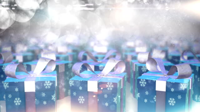 rotating christmas presents (silver, blue) - loop - christmas gift stock videos and b-roll footage