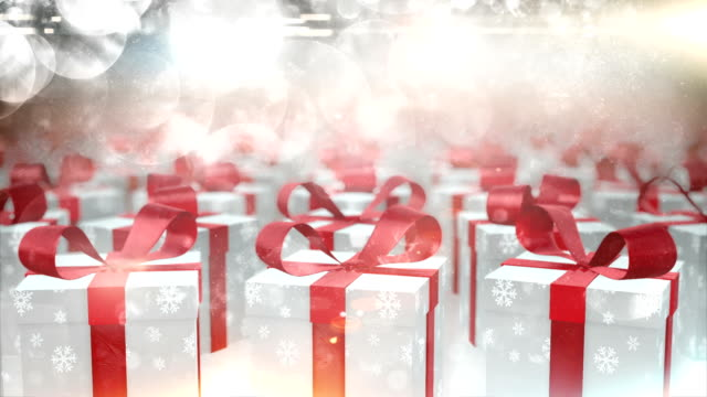 rotating christmas presents (silver) - loop - christmas present stock videos and b-roll footage