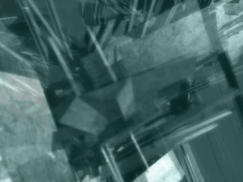 vídeos de stock, filmes e b-roll de rotating cluster of rectangles and geometric shapes. satellite effect - compasso