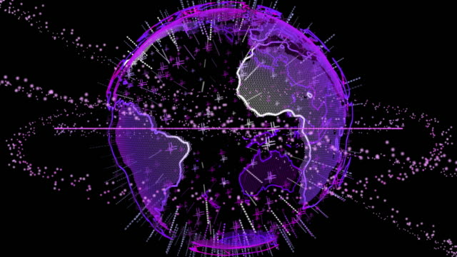 rotating colorful neon purple earth - turning stock videos & royalty-free footage