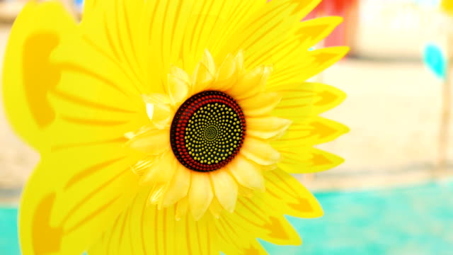 rotating colorful sunflower windmill toy - sunflower stock videos and b-roll footage